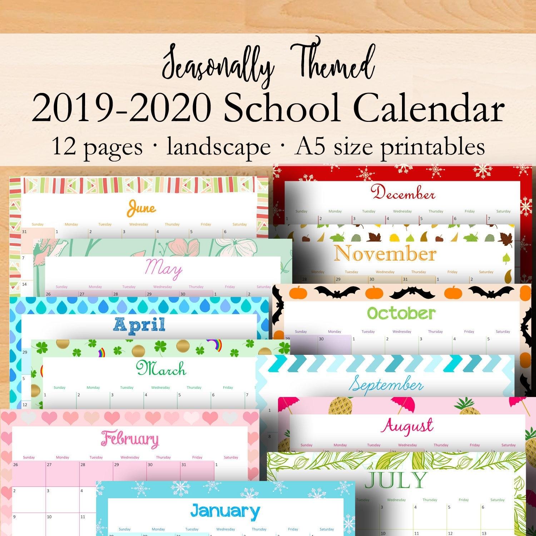 2019 2020 Calendar Inserts, Academic Calendar Printable, A5 Monthly School  Planner Calendars, Monthly Inserts A5 Printables Instant Download_School Calendar Rwanda 2020