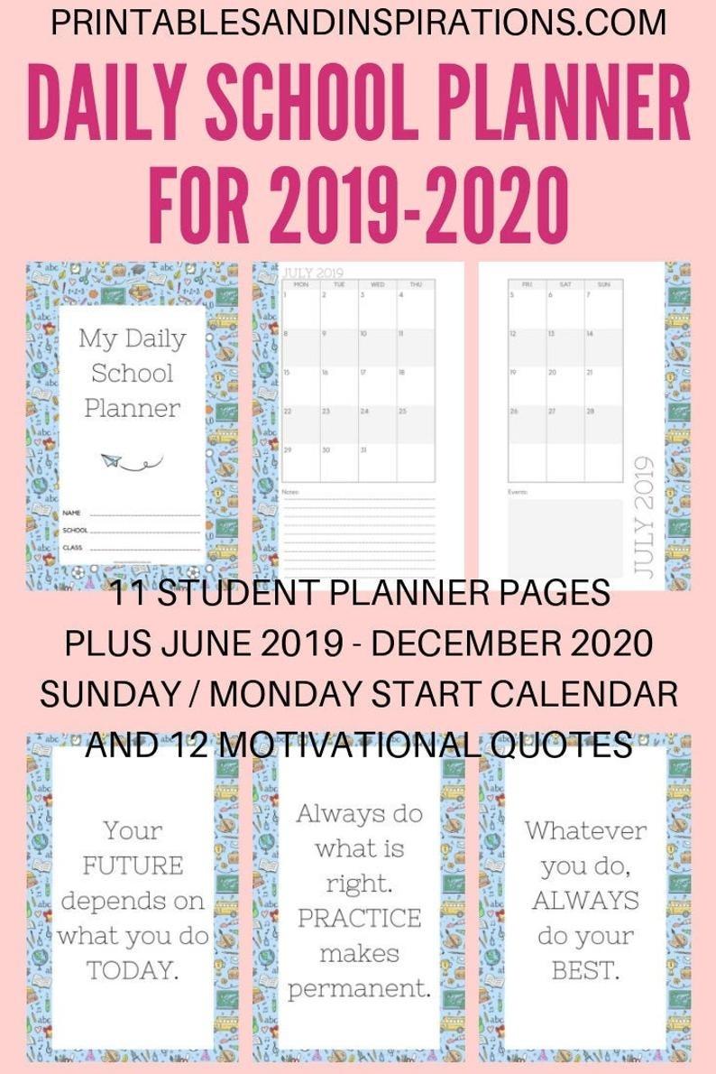 2019-2020 Daily School Planner Calendar Printable Pdf (Sunday/monday Start)  (Halfsize)_School Calendar Rwanda 2020
