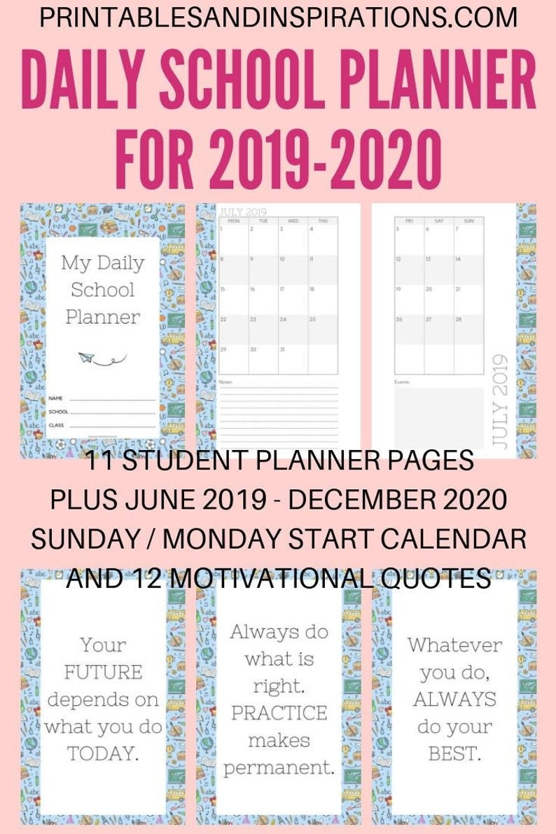 2019-2020 Daily School Planner Calendar Printable Pdf (Sunday/monday Start)  (Halfsize)_School Calendar Western Cape 2020
