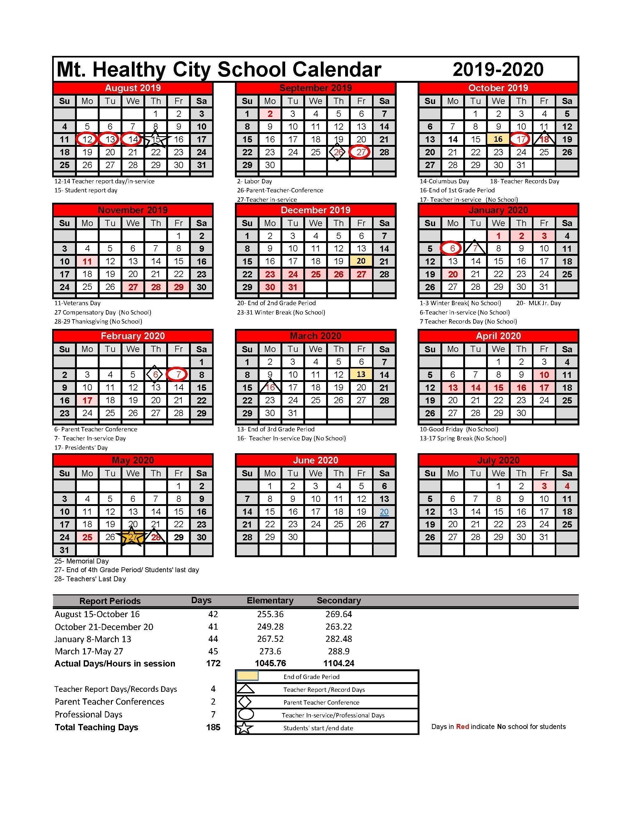 2019-2020 District Calendar – 2019-2020 District Calendar – Mt_District 6 School Calendar 2020