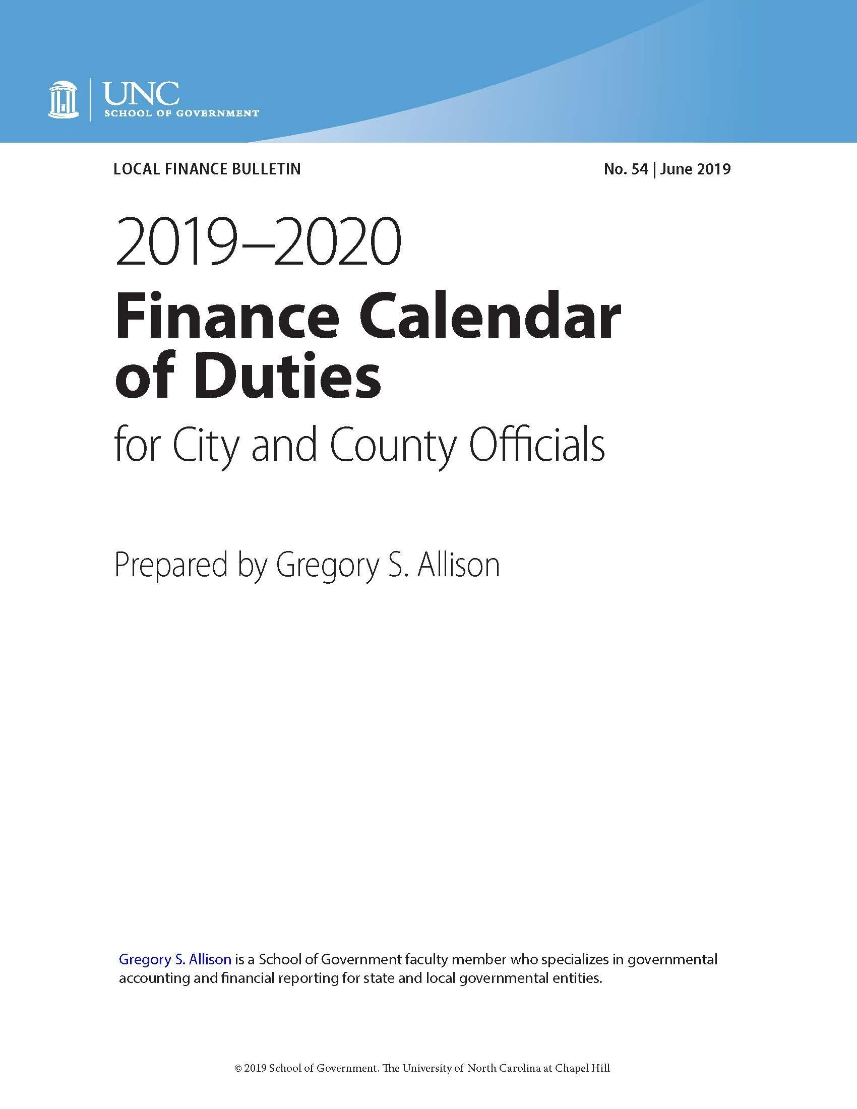2019-2020 Finance Calendar Of Duties For City And County Officials_U City School Calendar