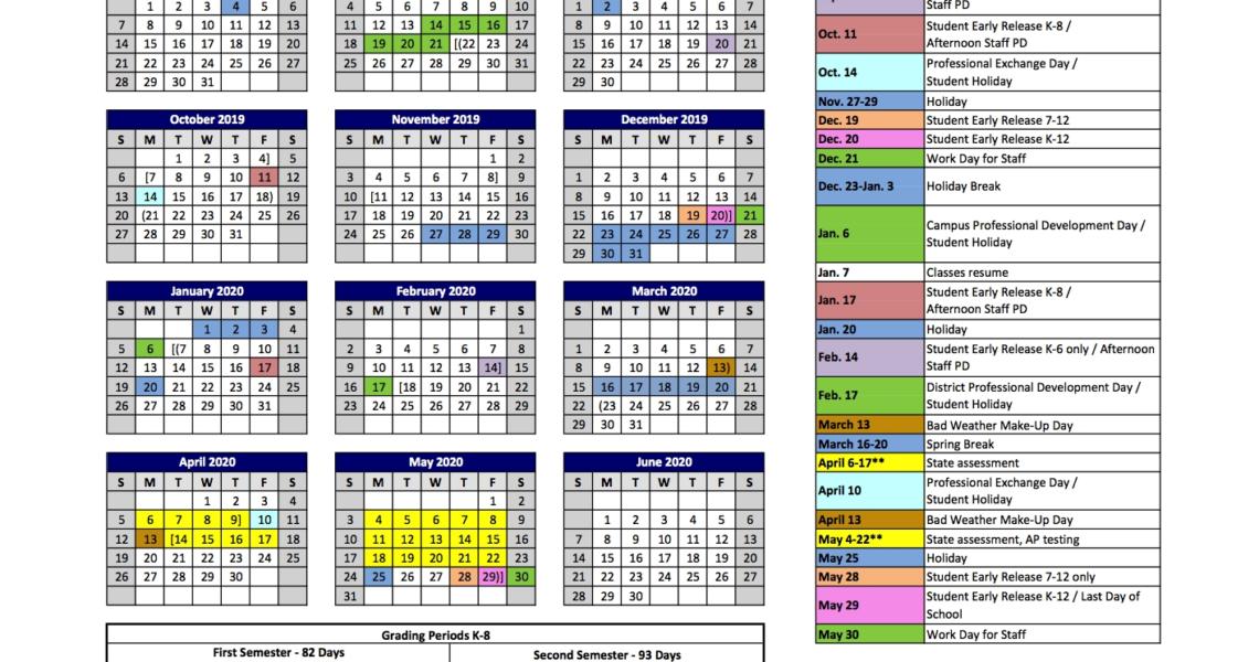 2019-2020 Hpisd Calendar – Calendars – Highland Park Independent_Park 6 School Calendar