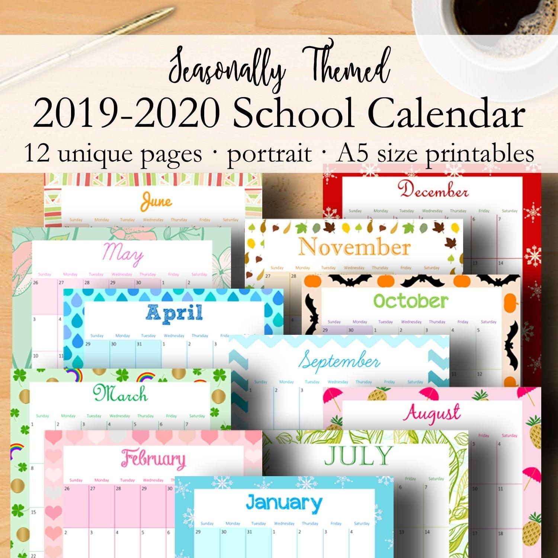2019 2020 School Calendar Inserts, Academic Calendar Printable, A5 Monthly  Planner Calendars, Monthly Printable Inserts A5, Instant Download_School Calendar Rwanda 2020