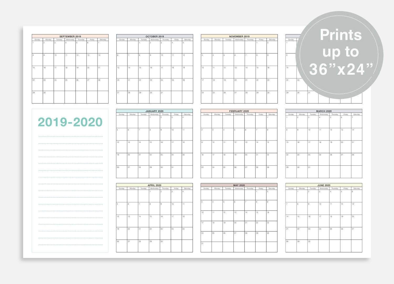"""2019-2020 School Calendar, September 2019 - June 2020 School Planner,  36X24"""" School Wall Calendar, At A Glance Calendar, School Planner_School Calendar Rwanda 2020"""