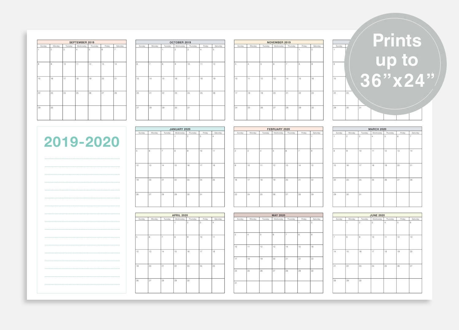 "2019-2020 School Calendar, September 2019 - June 2020 School Planner,  36X24"" School Wall Calendar, At A Glance Calendar, School Planner_School Calendar Western Cape 2020"