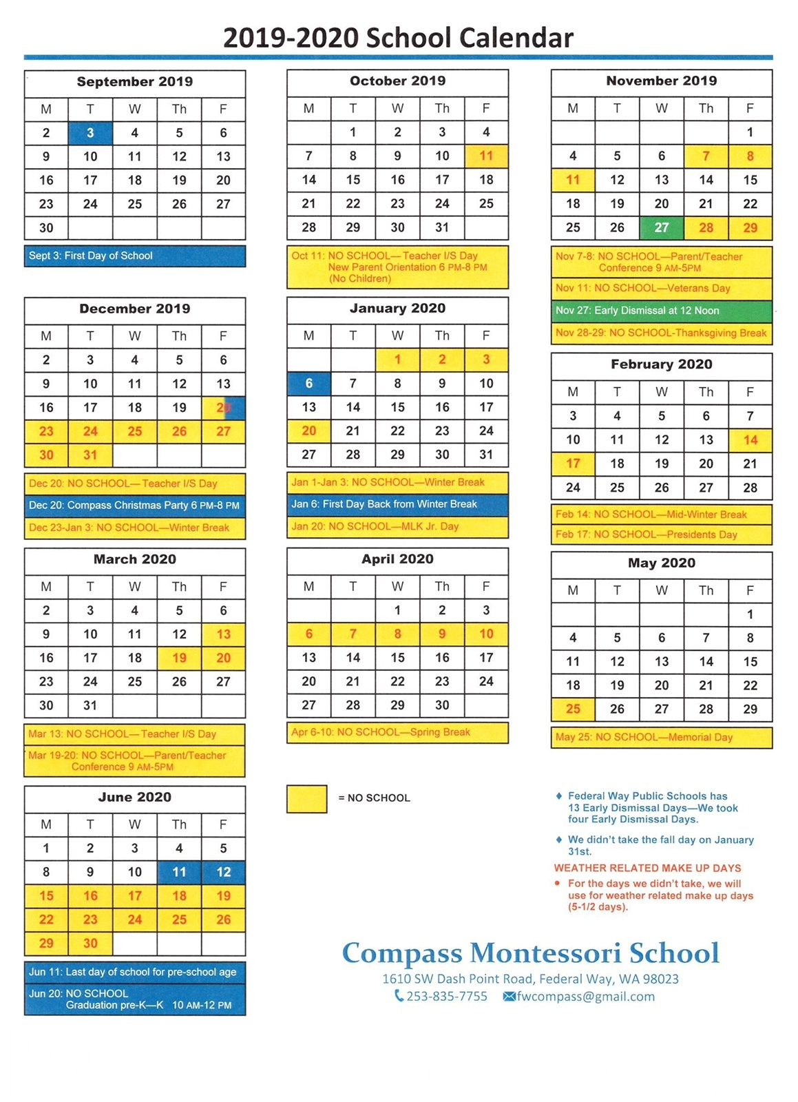 2019-2020 School Year Calendar | Compass Montessori School Of_School Calendar Wa 2020