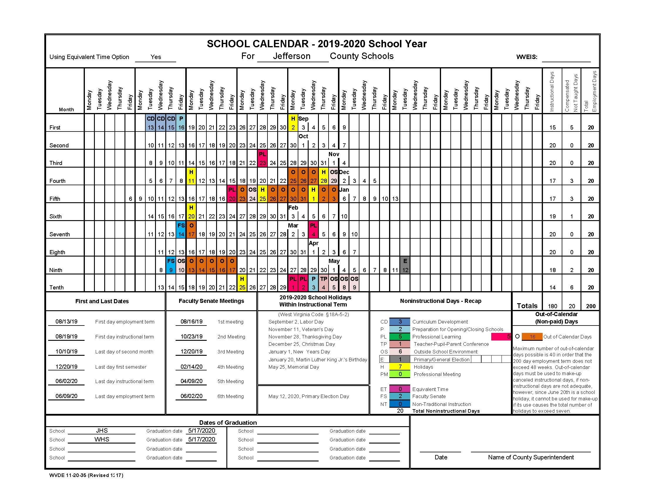 2019-2020 Staff Calendar - Jefferson County Schools_School Calendar Jefferson County Wv