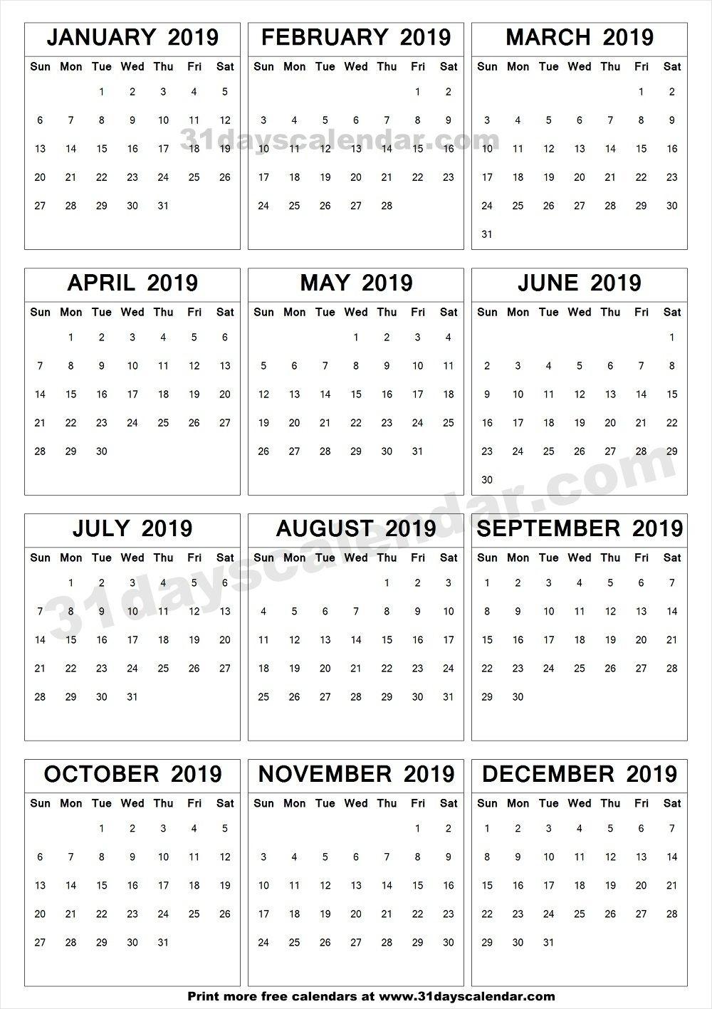 2019 A4 Calendar To Print | Yearly Calendar 2019 | Print Calendar_Printing A Calendar For 2019