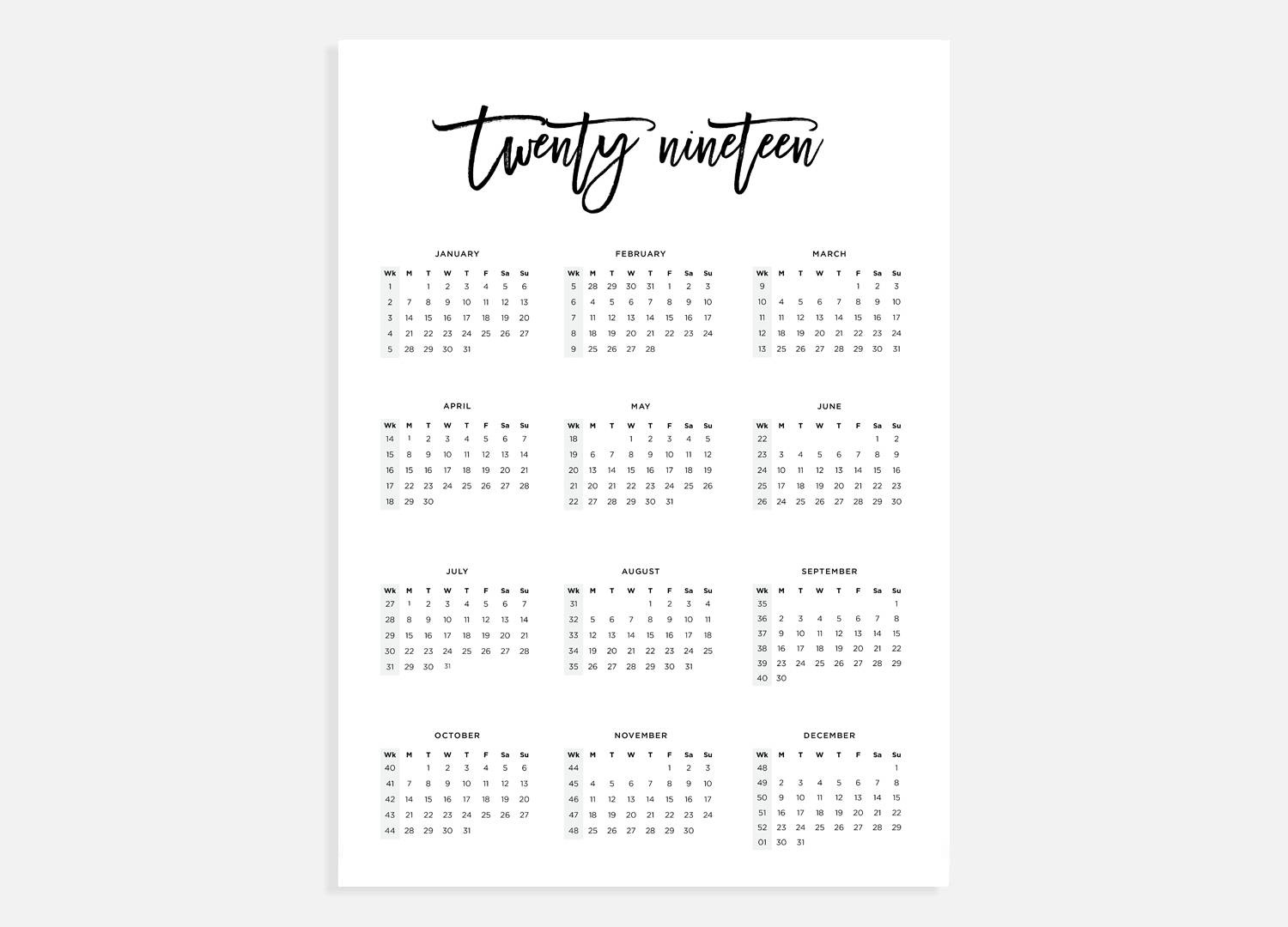 2019, Calendar A3, Calendar With Week Numbers, 2019 Year Calendar, A3  Digital Download Calendar, A3 Calendar, Printable Calendar 2019_A3 Landscape Calendar Printing