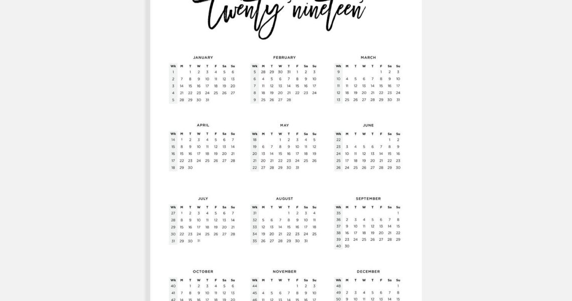 2019, Calendar A3, Calendar With Week Numbers, 2019 Year Calendar, A3  Digital Download Calendar, A3 Calendar, Printable Calendar 2019_A3 Wall Calendar Printing