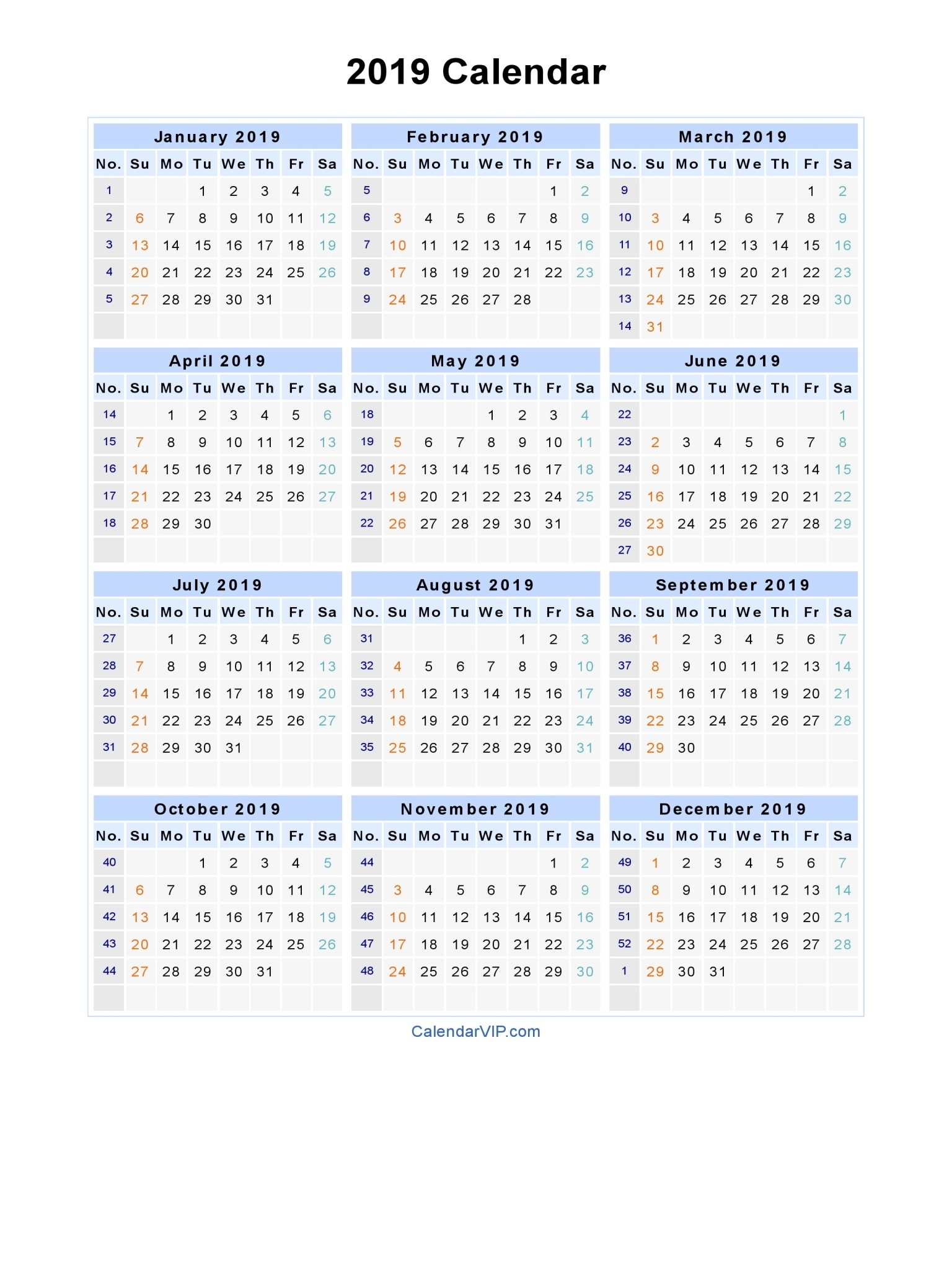 2019 Calendar - Blank Printable Calendar Template In Pdf Word Excel_A3 Landscape Calendar Printing