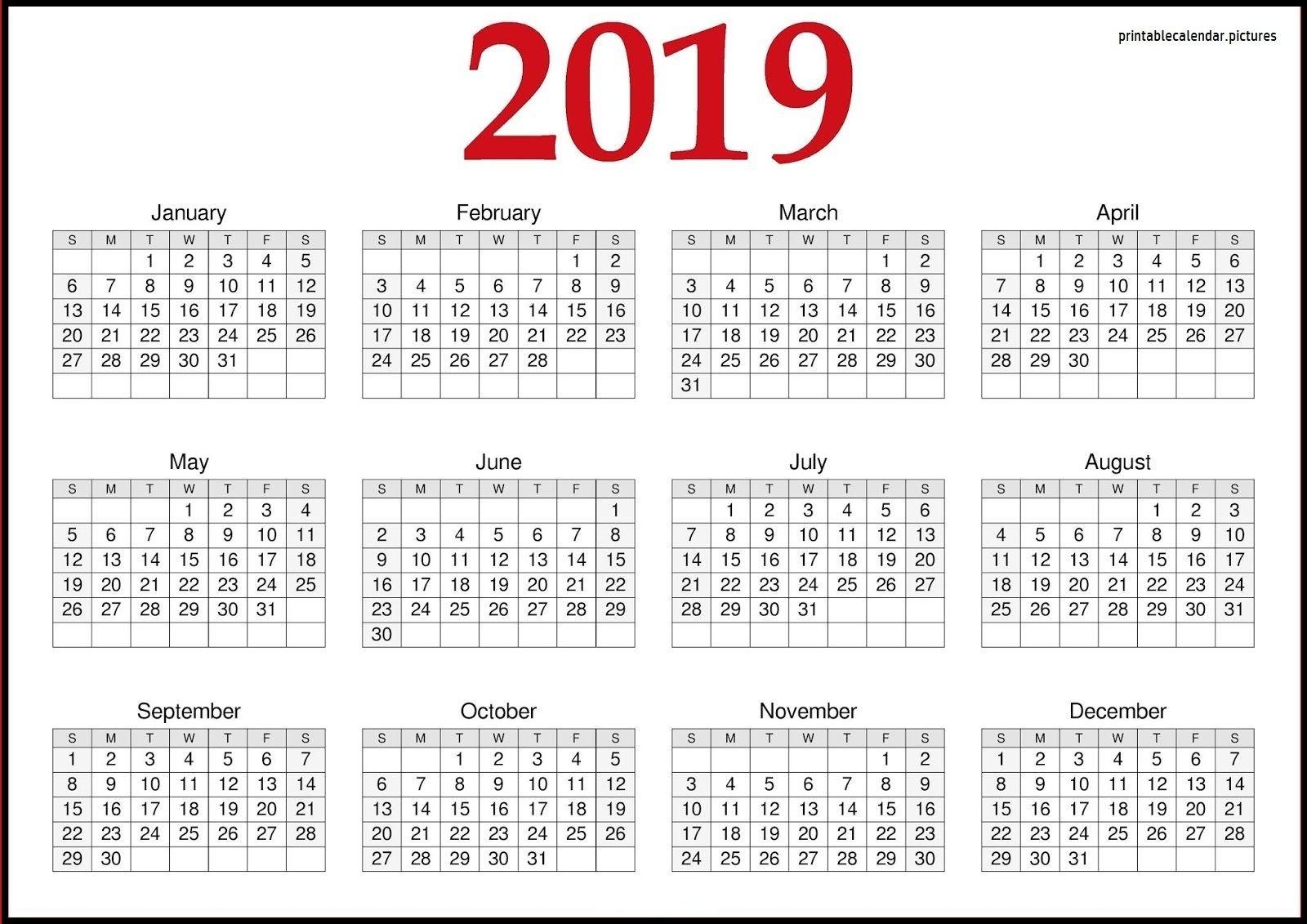 2019 Calendar Printable Word, Excel, Pdf, And Template  </p>   </div>        <br>     <div class=