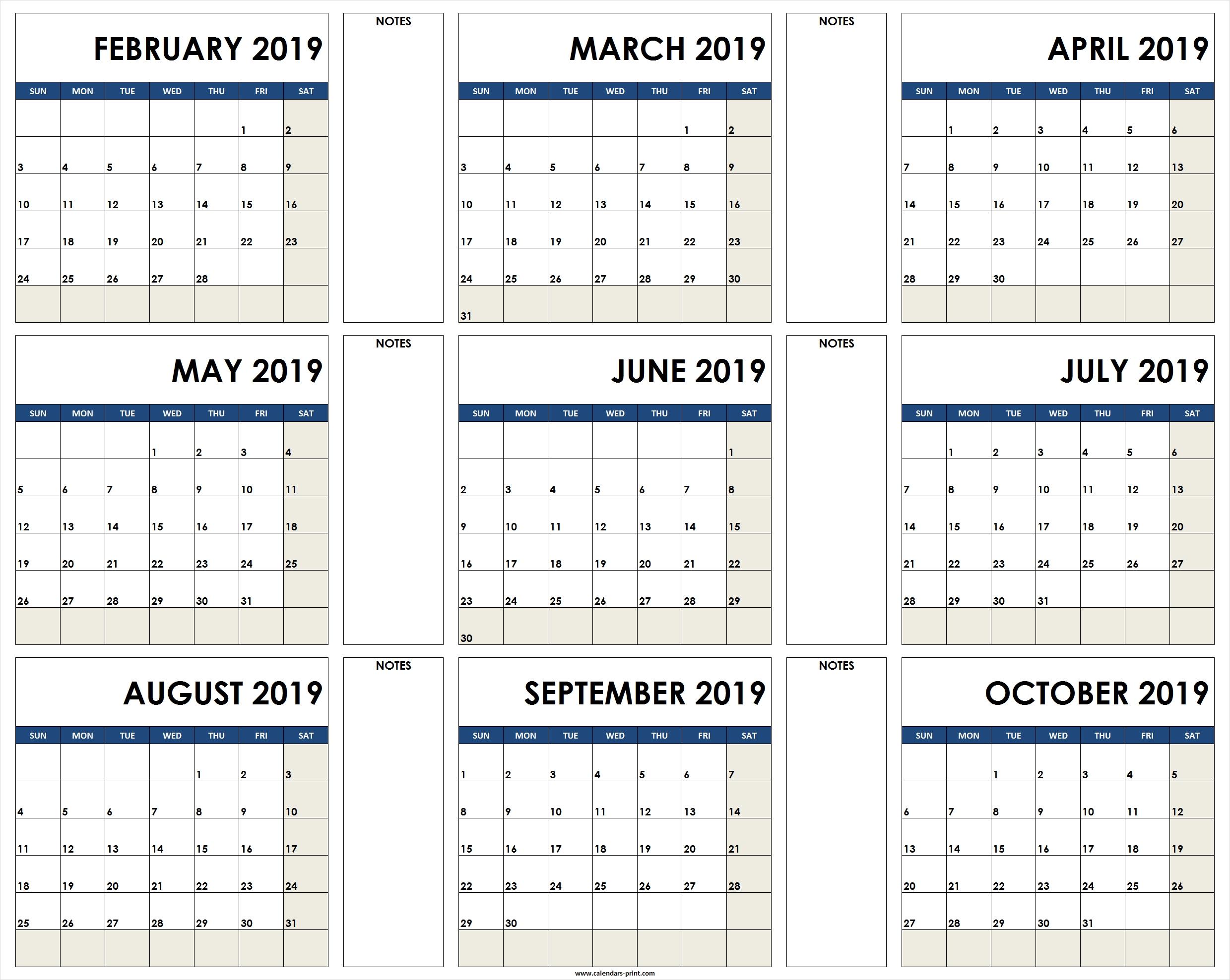 2019 Calendar To Print Free | Blank Calendar 2019 Template Printable_Printing A Calendar For 2019