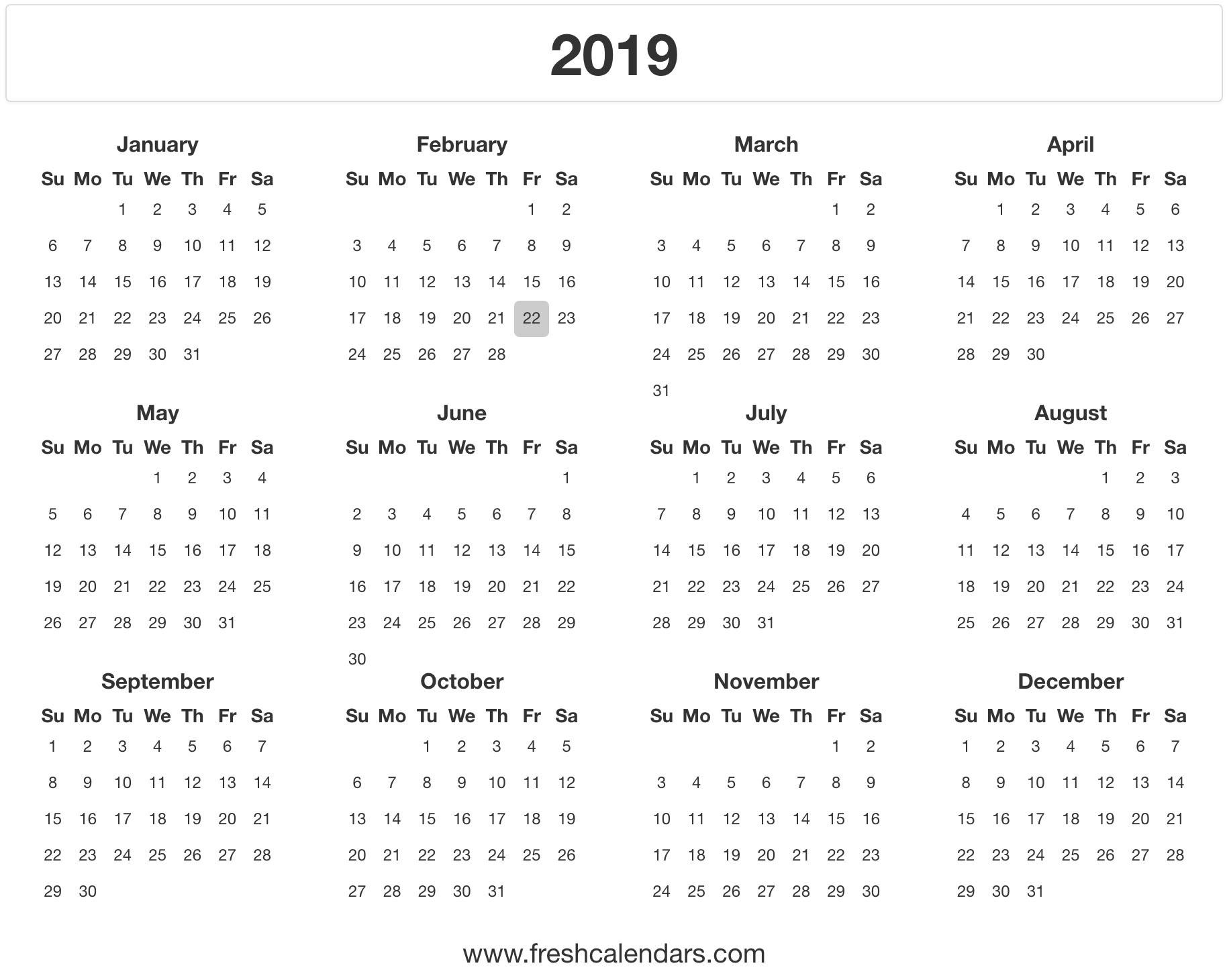 2019 Calendar_Printing A Calendar For 2019
