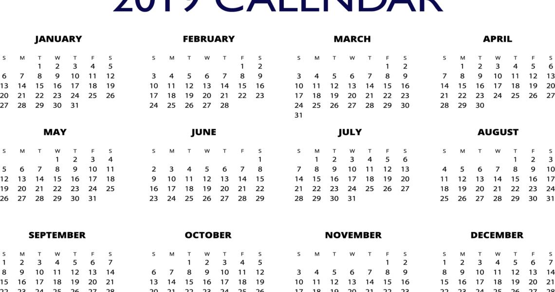 2019 Excel One Page Calendar | 2019 Calendars | Free Calendar_Calendar Printing One Page