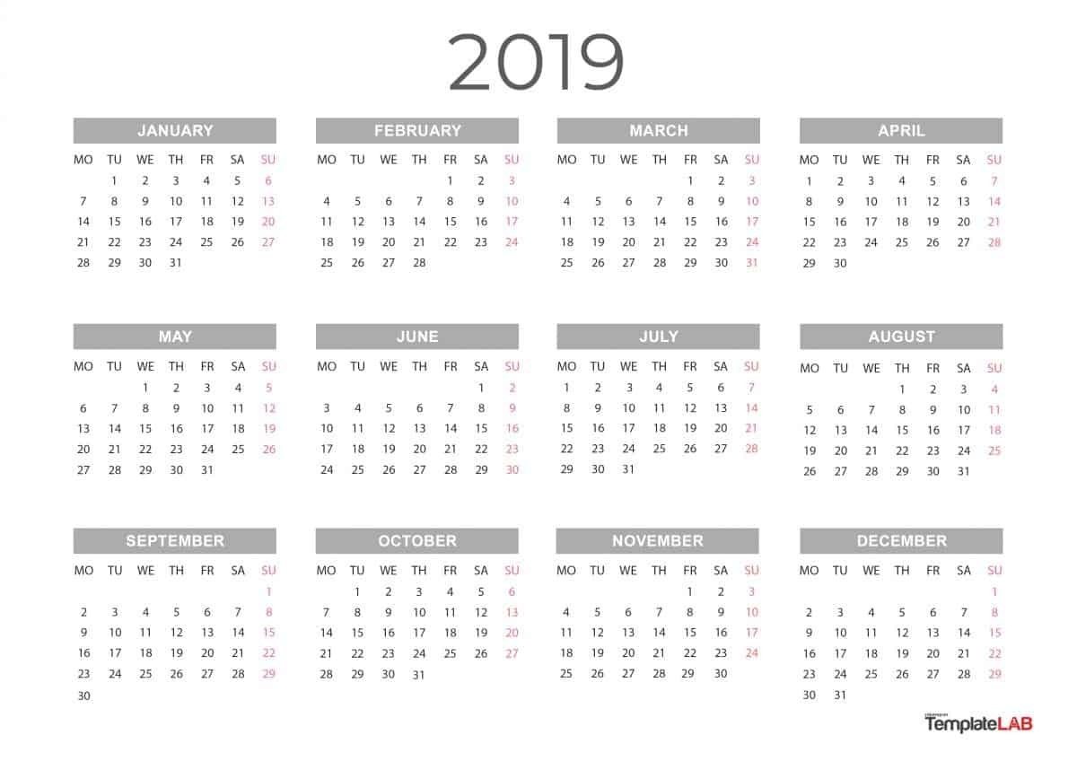 2019 Printable Calendars [Monthly, With Holidays, Yearly] ᐅ_Printing A Calendar For 2019