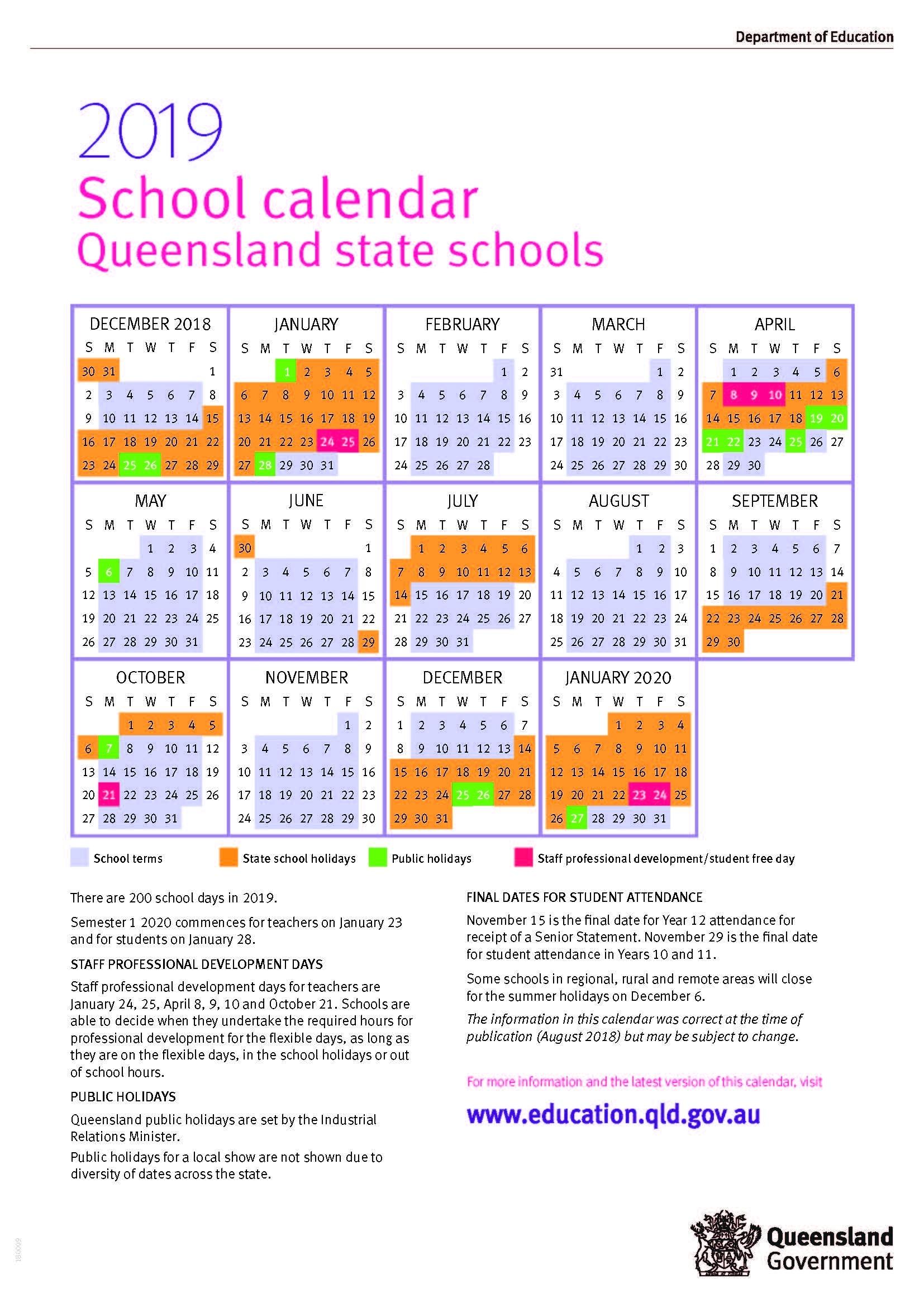 2019 Queensland State School Calendar_School Year Calendar Qld