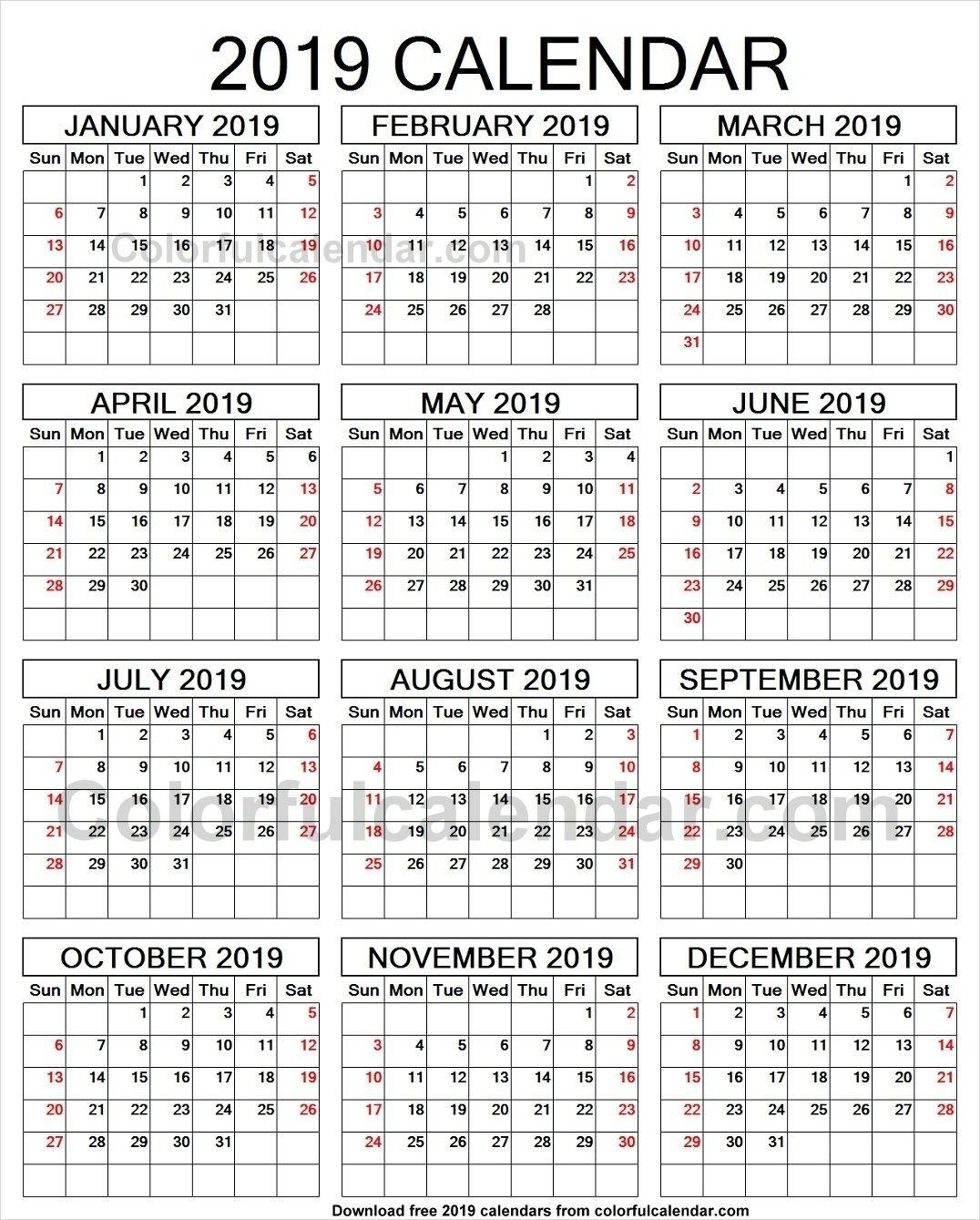 2019 Year Calendar To Print | 2019 Yearly Calendars | Print Calendar_Printing A Calendar For 2019