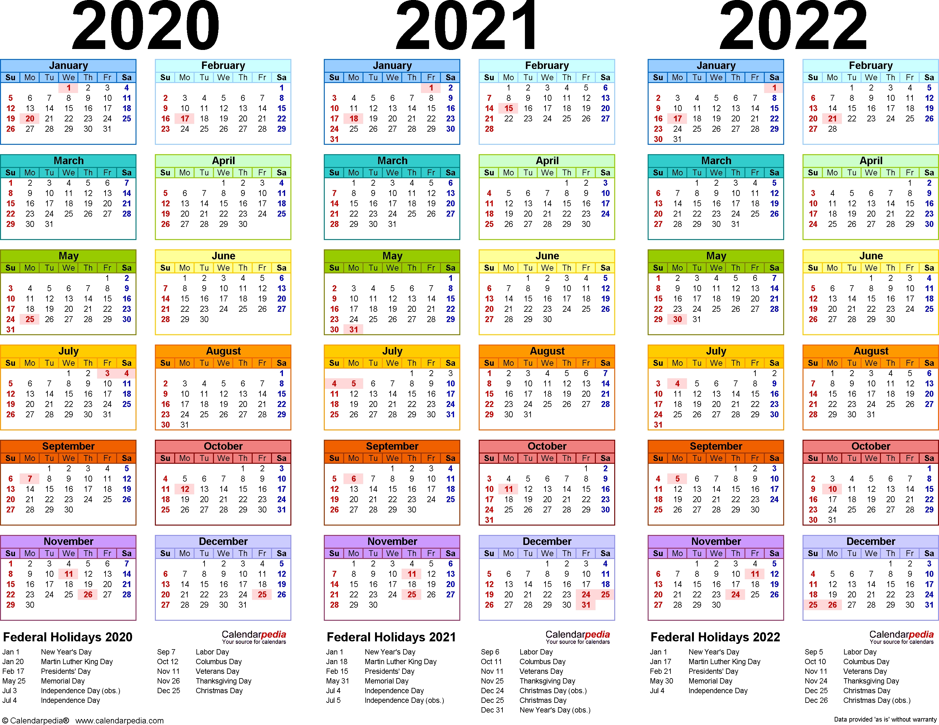 2020/2021/2022 Calendar - 4 Three-Year Printable Pdf Calendars_3 Term School Calendar 2020