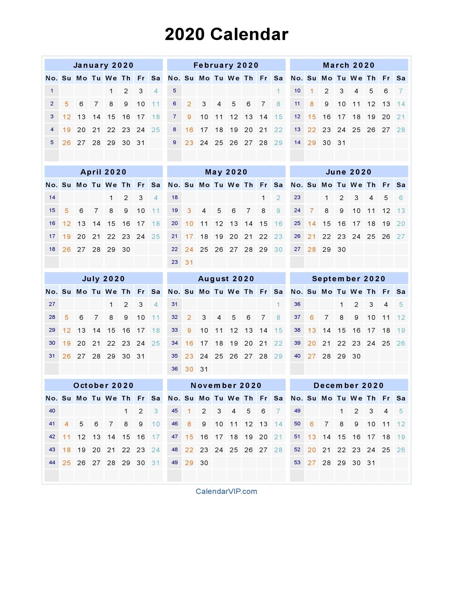 2020 Calendar - Blank Printable Calendar Template In Pdf Word Excel_2020 Calendar Blank Excel