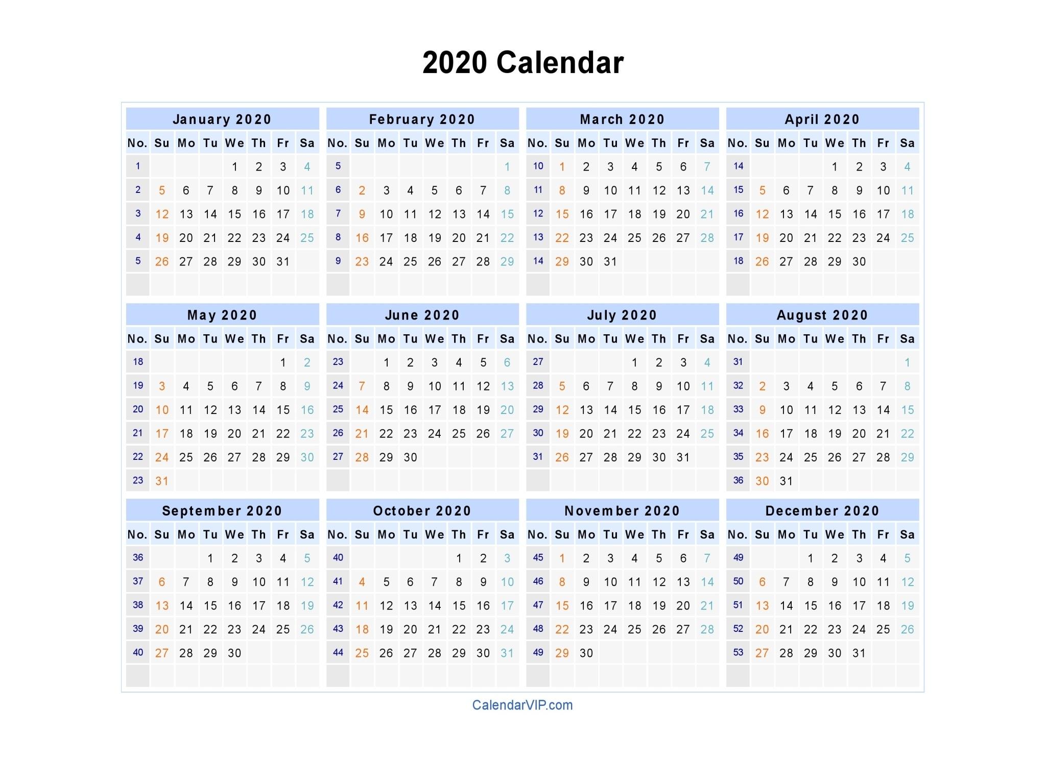 2020 Calendar - Blank Printable Calendar Template In Pdf Word Excel_Blank Horizontal Calendar 2020
