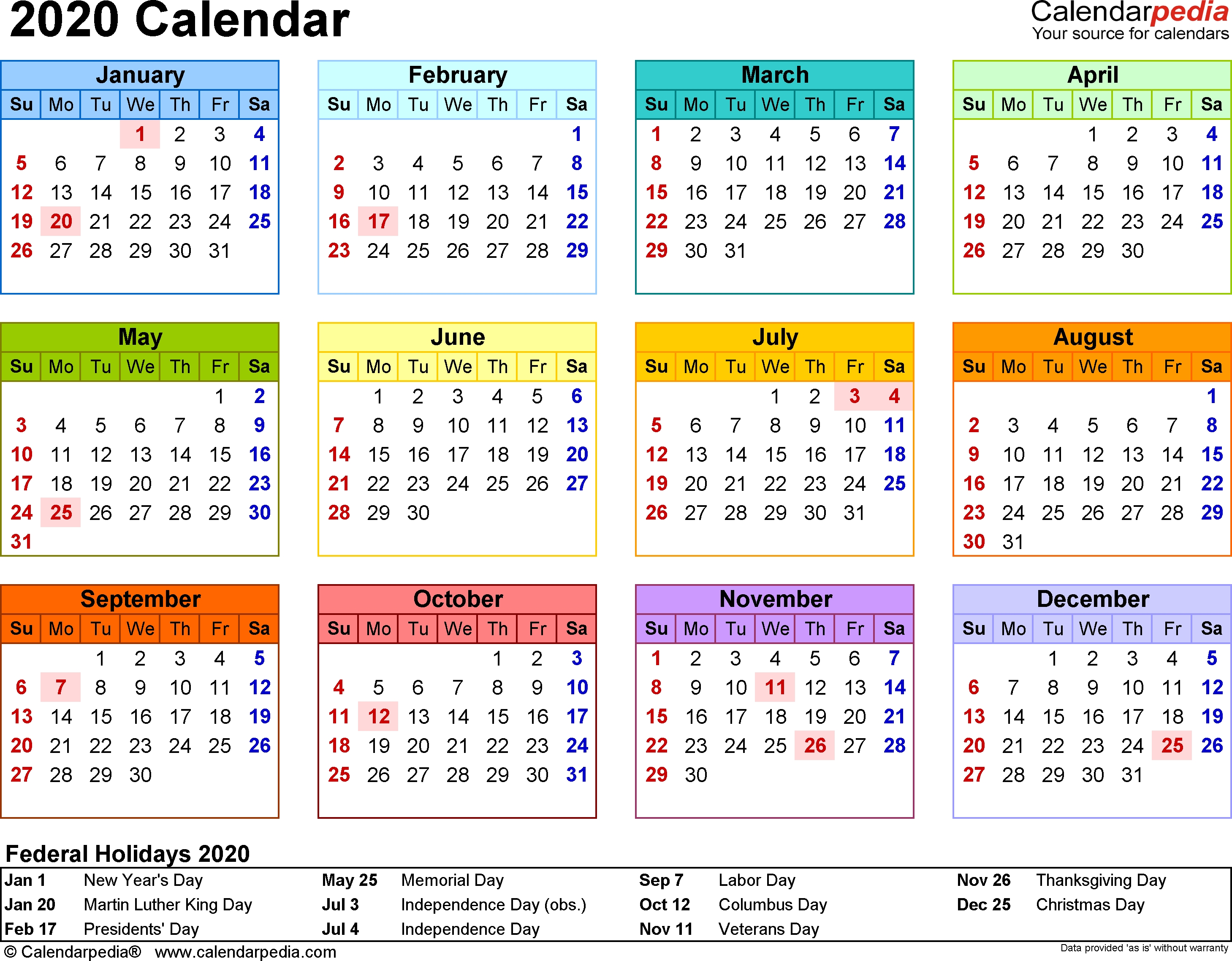 2020 Calendar - Download 17 Free Printable Excel Templates (.xlsx)_2020 Calendar Blank Excel