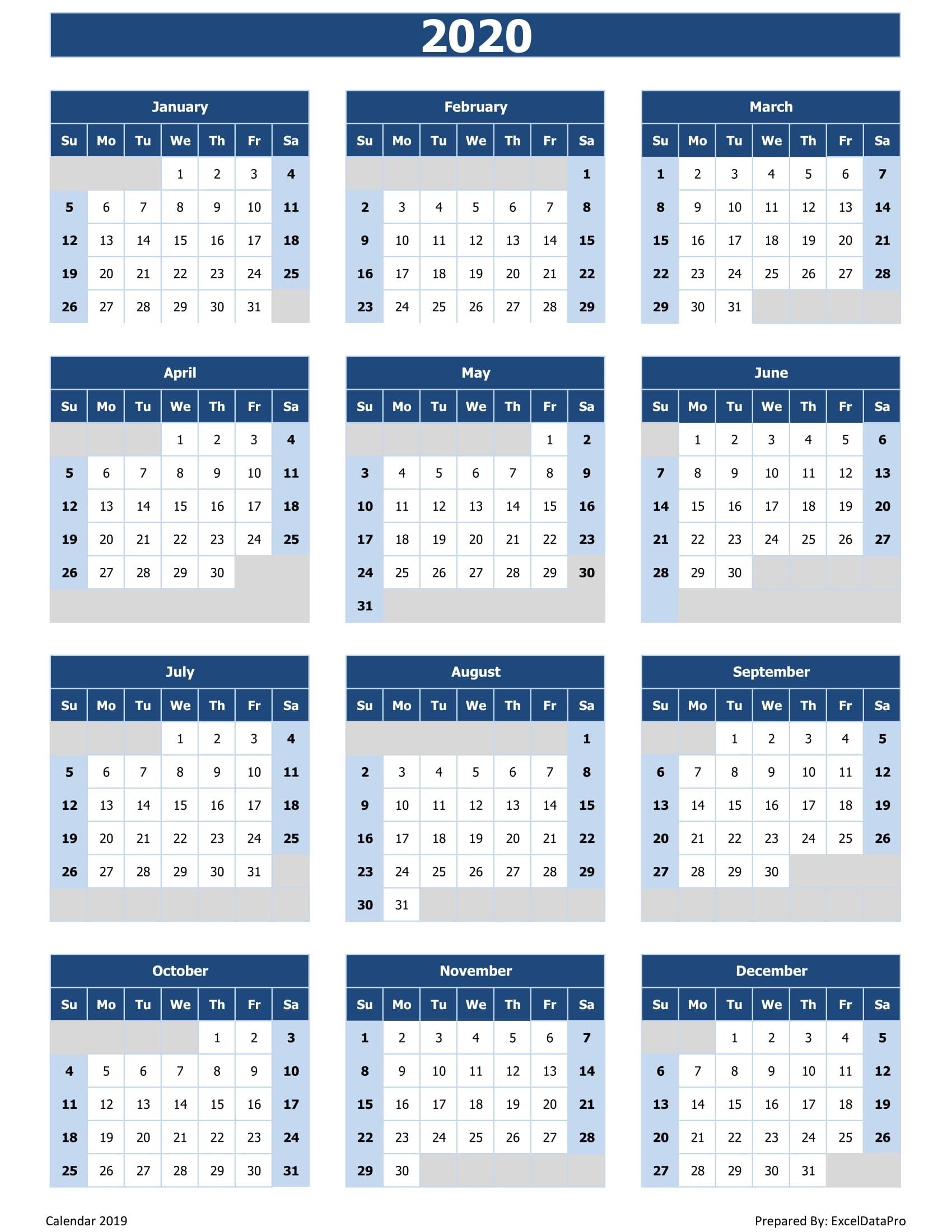 2020 Calendar Excel Templates, Printable Pdfs & Images - Exceldatapro_2020 Calendar Blank Excel