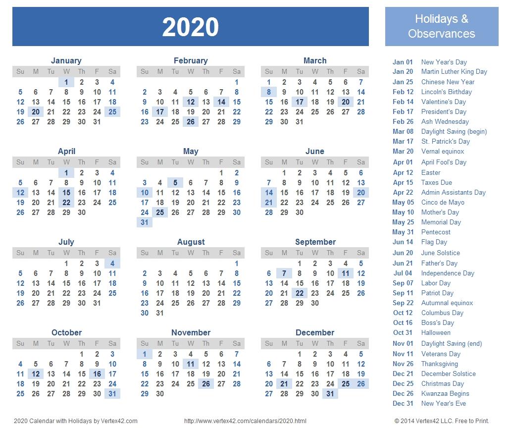 2020 Calendar Prints For Planning! | Planner | Printable Calendar_Blank Calendar Canada 2020