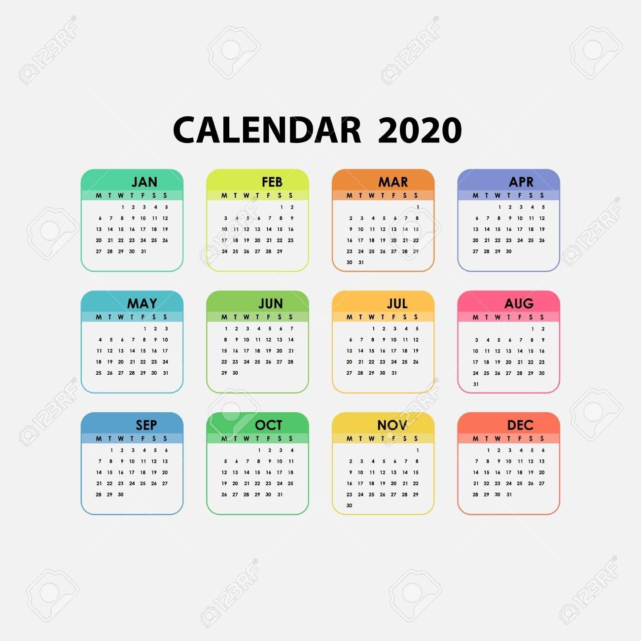2020 Calendar Template.calendar 2020 Set Of 12 Months.yearly.._Blank Calendar 2020 12 Month