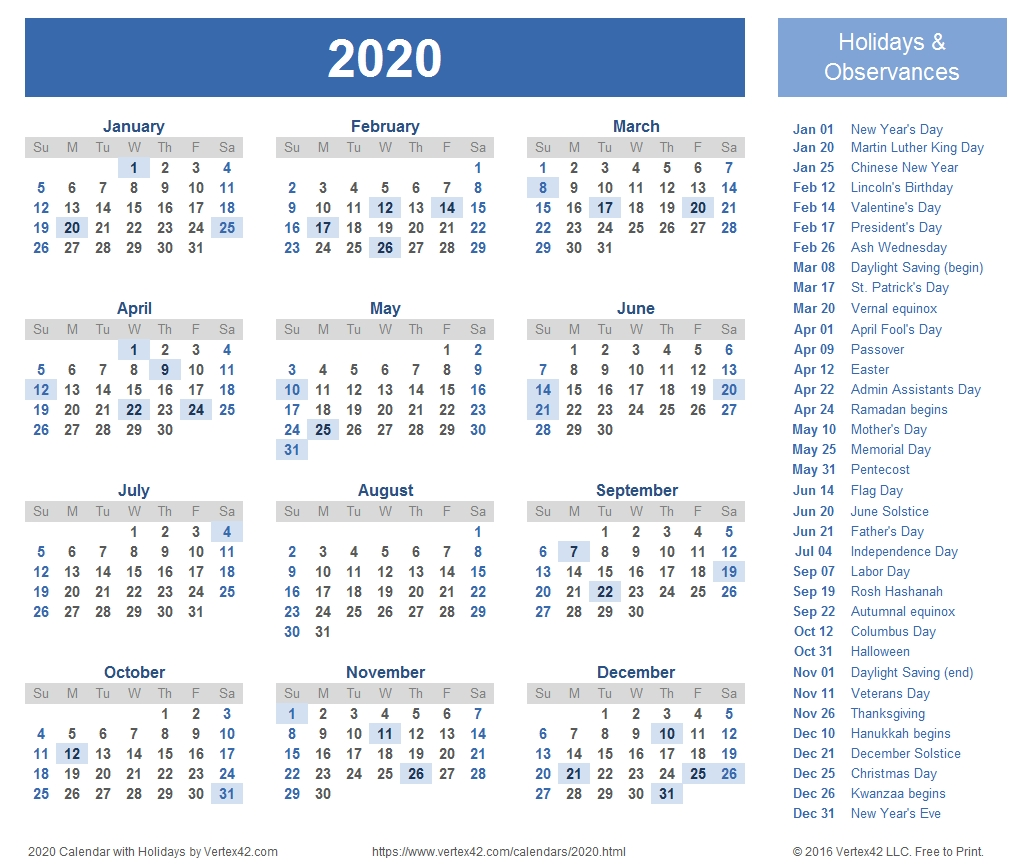 2020 Calendar Templates And Images_2020 Calendar Blank Excel