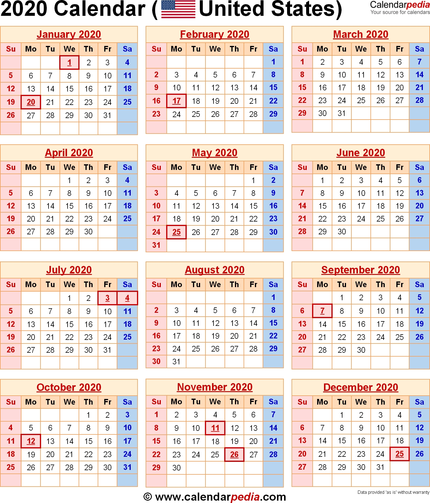 2020 Calendar With Federal Holidays & Excel/pdf/word Templates_Blank Vacation Calendar 2020