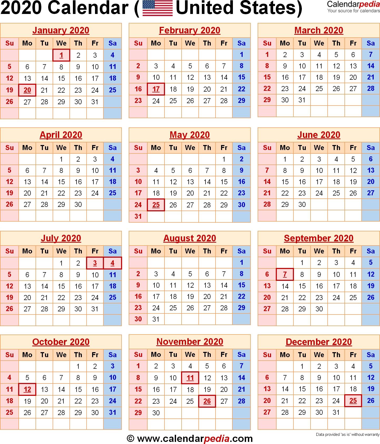 2020 Calendar With Federal Holidays & Excel/pdf/word Templates_Calendar School Usa 2020