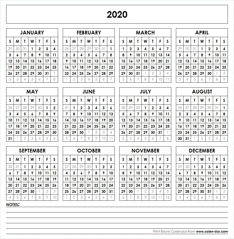 2020 Printable Calendar | Yearly Calendar | Yearly Calendar_3 Month Blank Calendar 2020