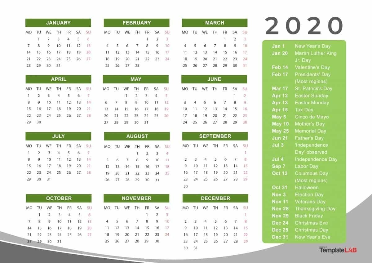 2020 Printable Calendars [Monthly, With Holidays, Yearly] ᐅ_2020 Blank Calendar Calendarlabs