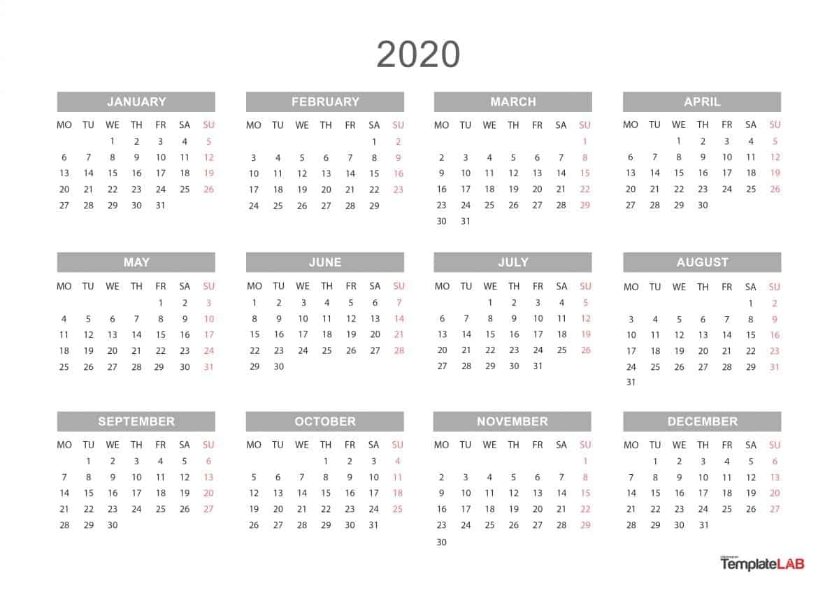 2020 Printable Calendars [Monthly, With Holidays, Yearly] ᐅ_Blank Calendar 2020 12 Month