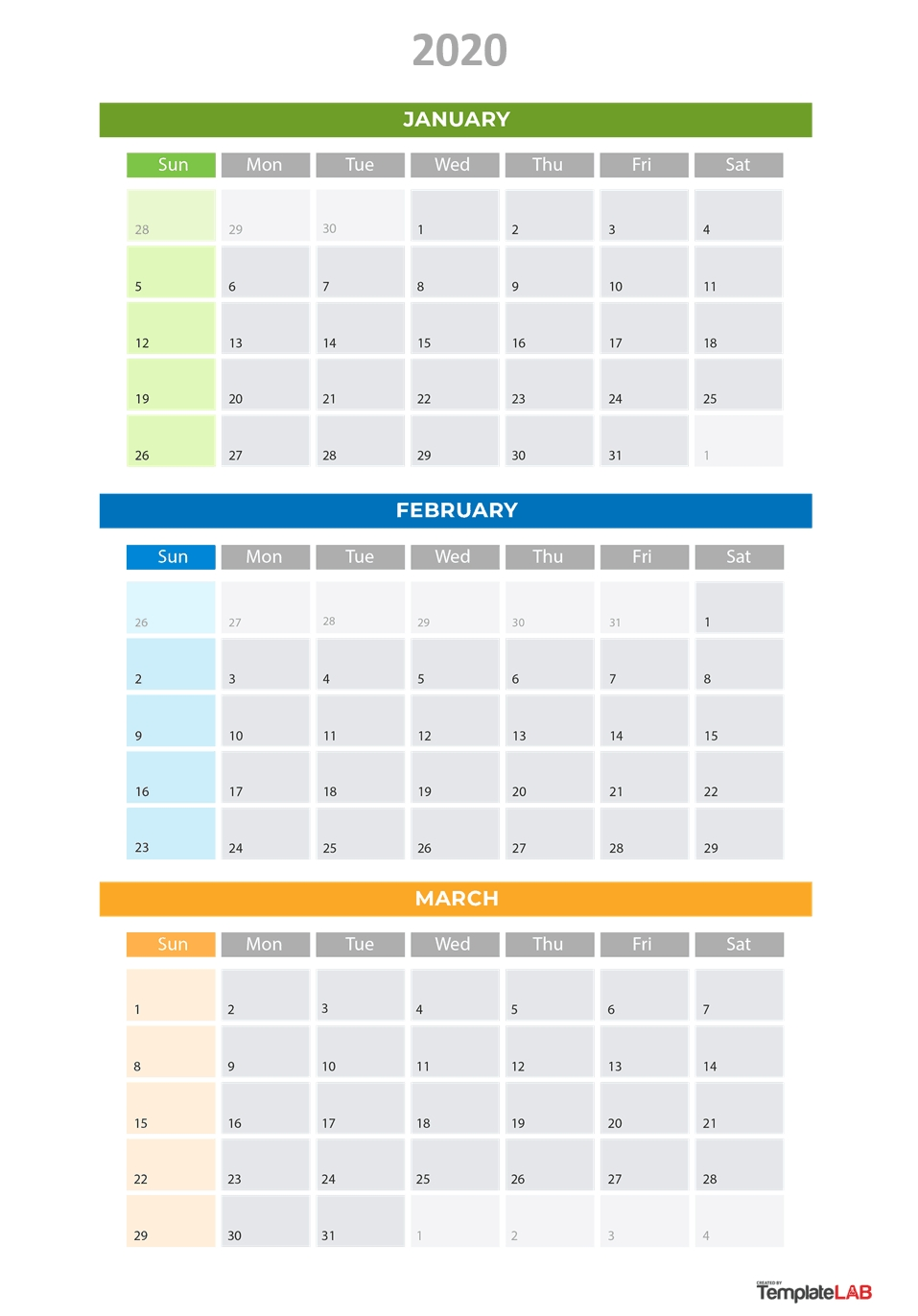 2020 Printable Calendars [Monthly, With Holidays, Yearly] ᐅ_Blank Quarterly Calendar 2020