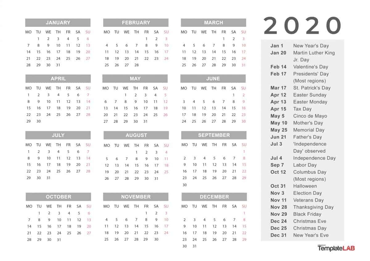 2020 Printable Calendars [Monthly, With Holidays, Yearly] ᐅ_Blank Vacation Calendar 2020