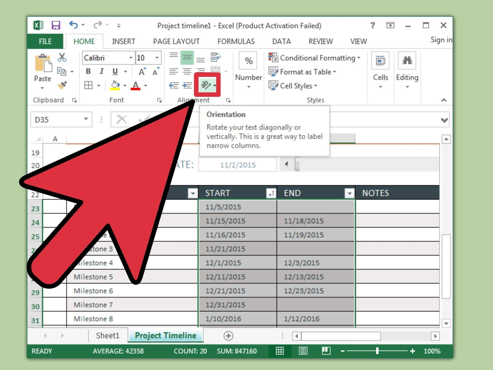 3 Ways To Create A Timeline In Excel - Wikihow_Add Calendar Icon To Excel Cell