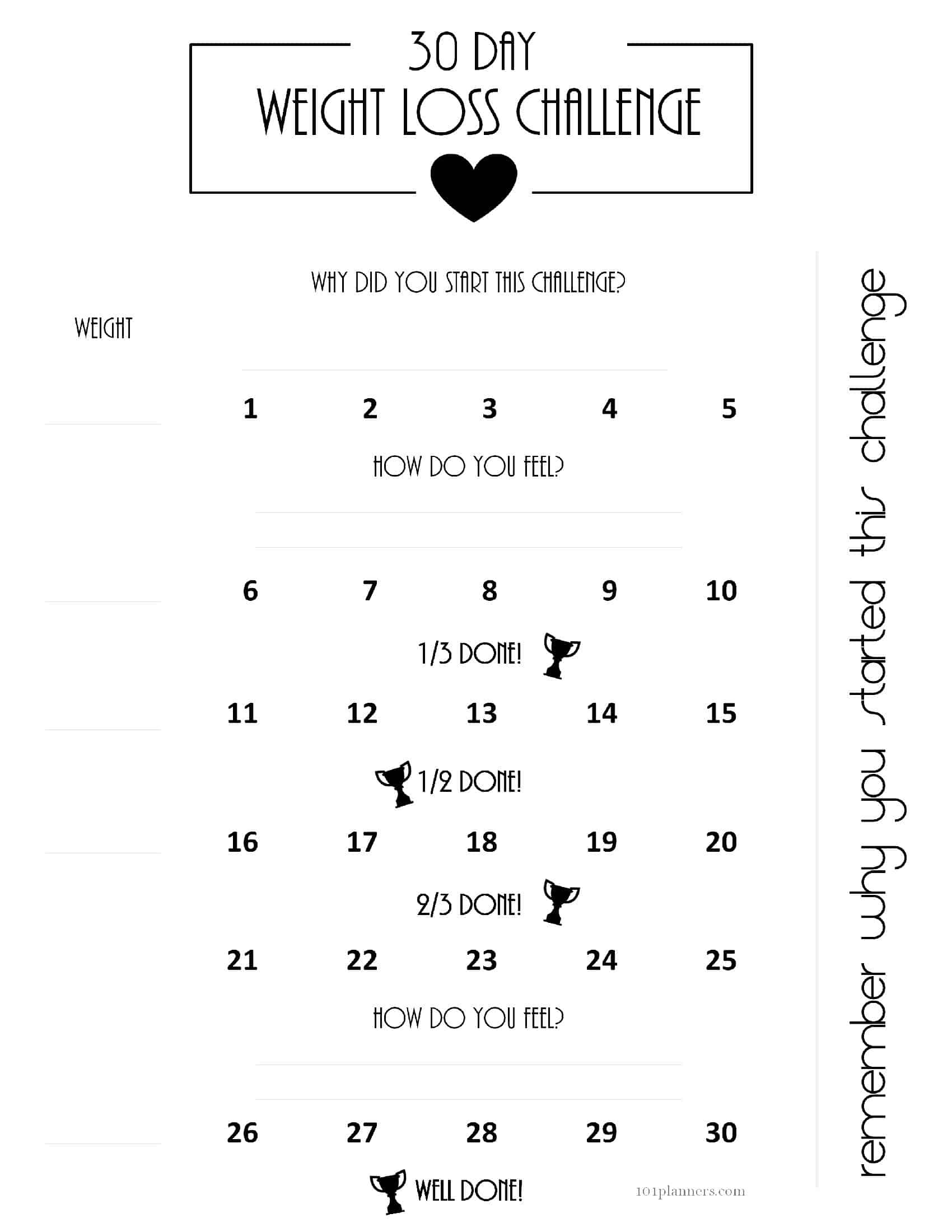 30 Day Weight Loss Challenge Ideas With Free Printables_Countdown Calendar For Weight Loss