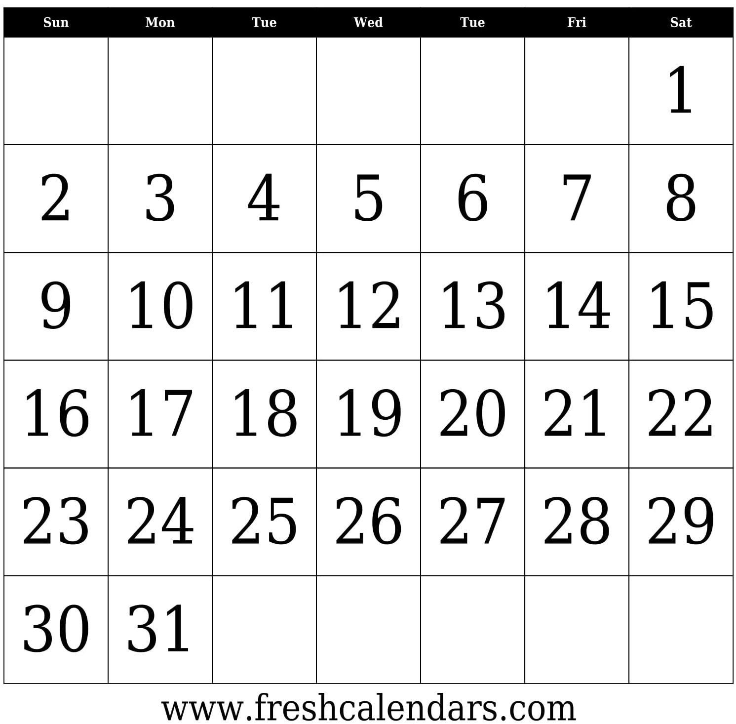 31 Days Blank Calendar Template Bold In To Edit | Thekpark-Hadong_Blank Calendar 31 Days