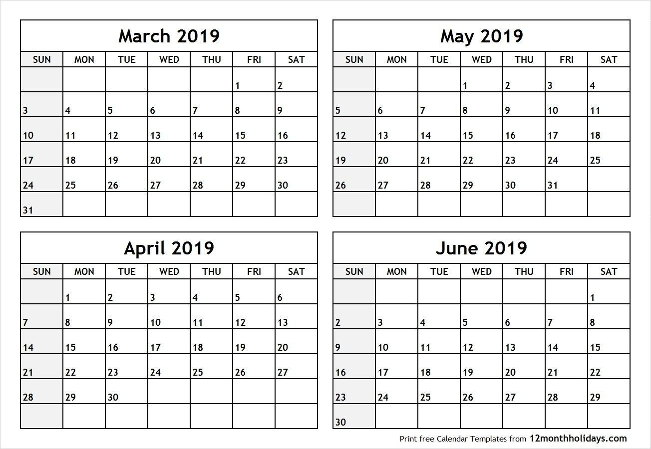 4 Month Blank Calendar 2019 March April May June #april #may #june_4 Month Blank Calendar