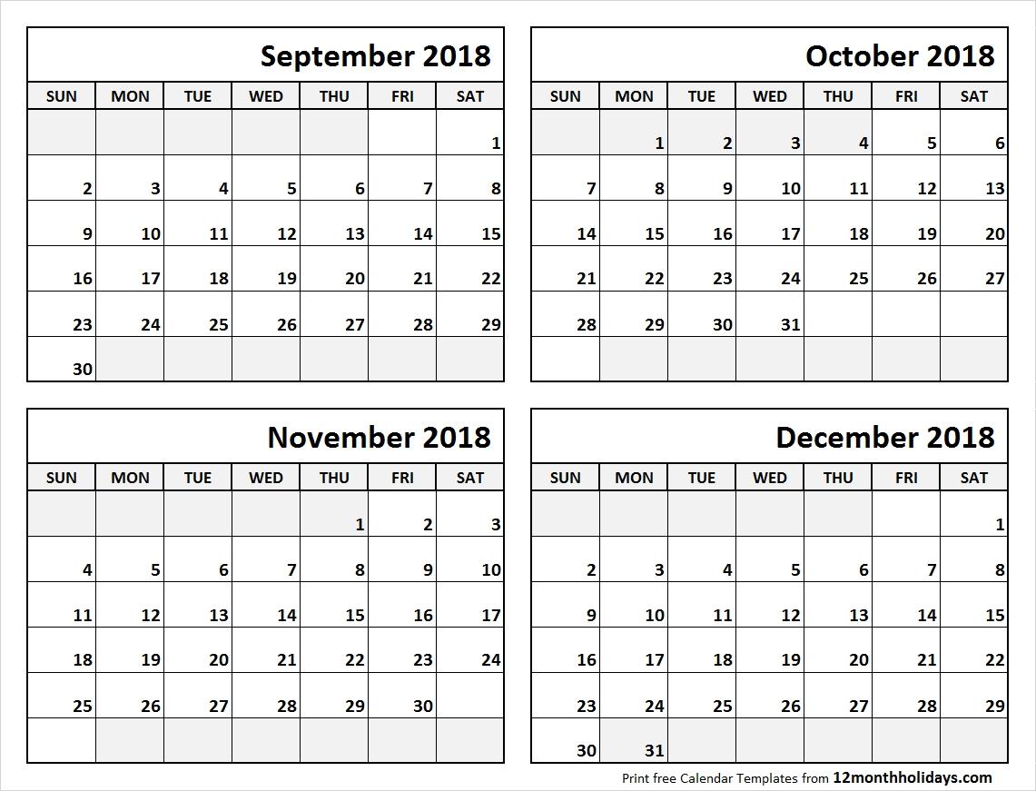 4 Month Calendar September To December 2018 | Calendars | Blank_4 Month Blank Calendar