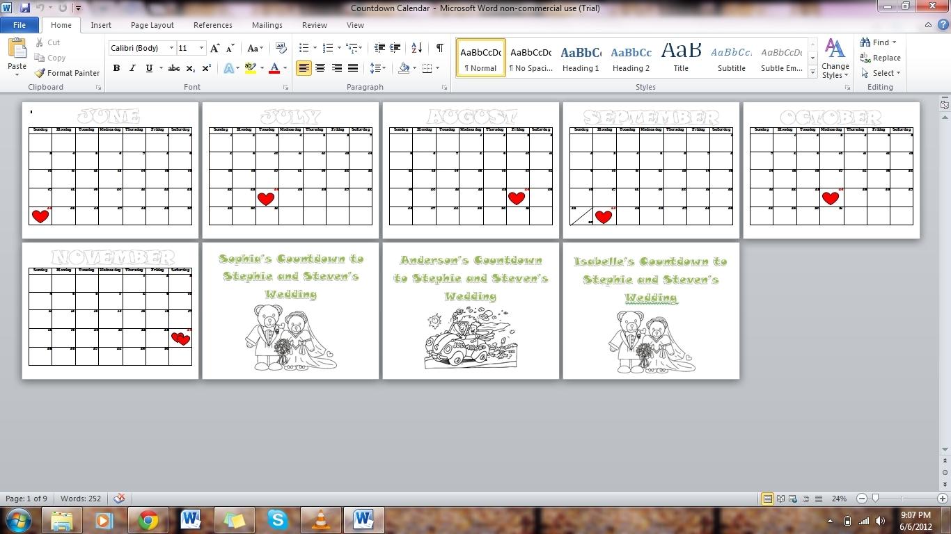 6 Month Countdown Calendar • Printable Blank Calendar Template_3 Month Countdown Calendar