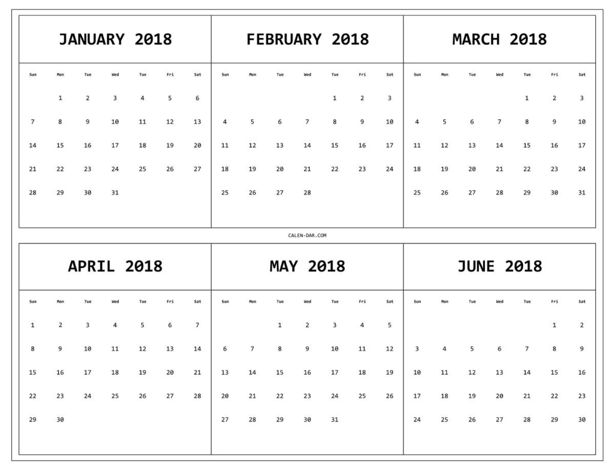 6 Month One Page Printable Calendar 2018 | Maxcalendars | Calendar_6 Month Calendar Blank