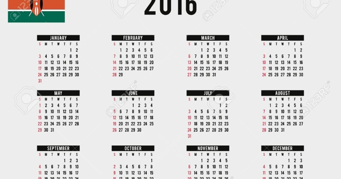 A 2016 Calendar With The Flag Of Kenya_Calendar Printing In Kenya