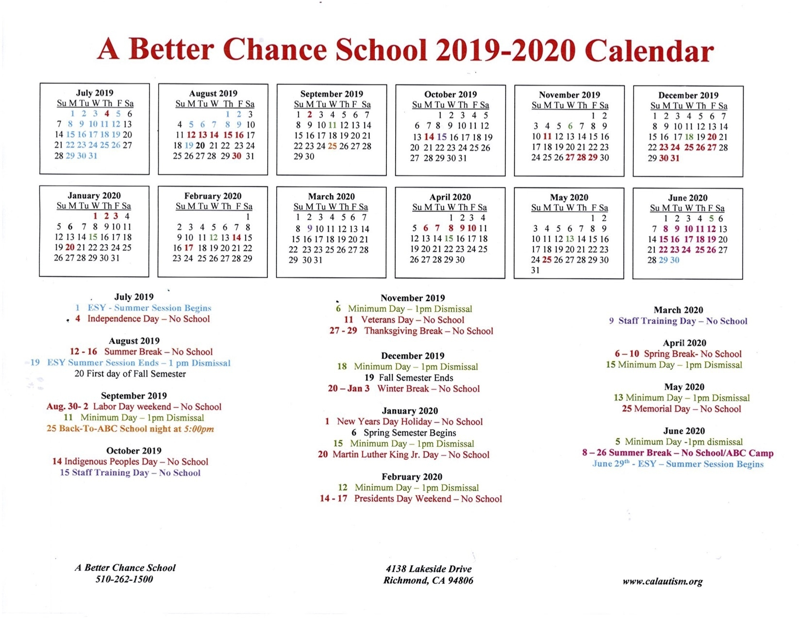 A Better Chance School 2019-2020 Calendar « California Autism Foundation_Calendar Of School Events 2020