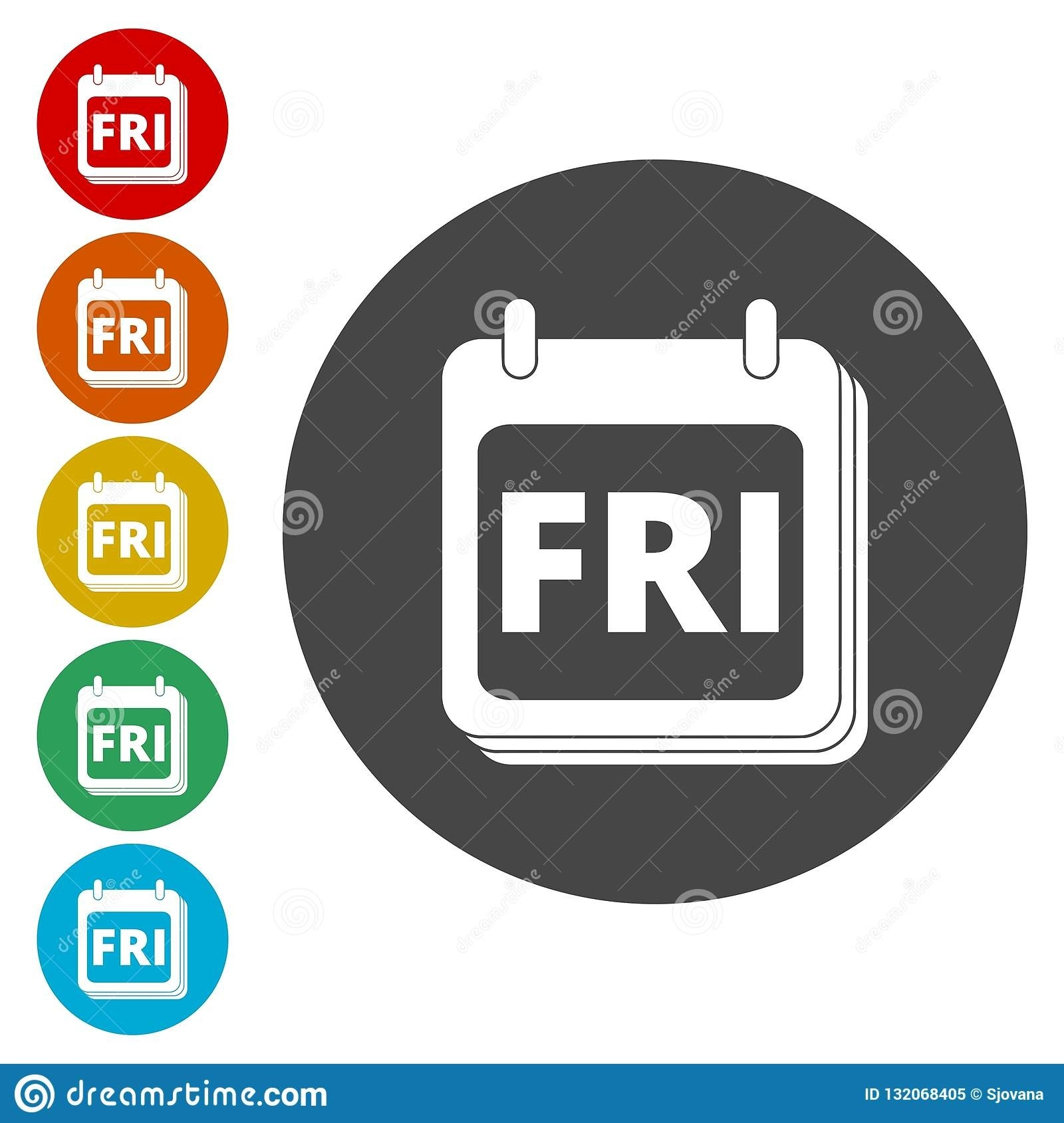 A Wall Calendar With The Word Friday. Flat Colorful Buttons For_Calendar Icon In Word