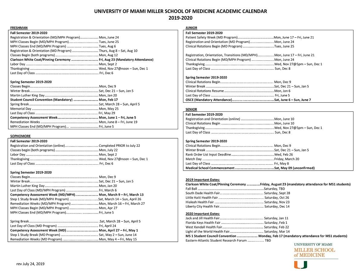 Academic Calendar: 2019-2020 - Miller School Of Medicine Admissions_U City School Calendar