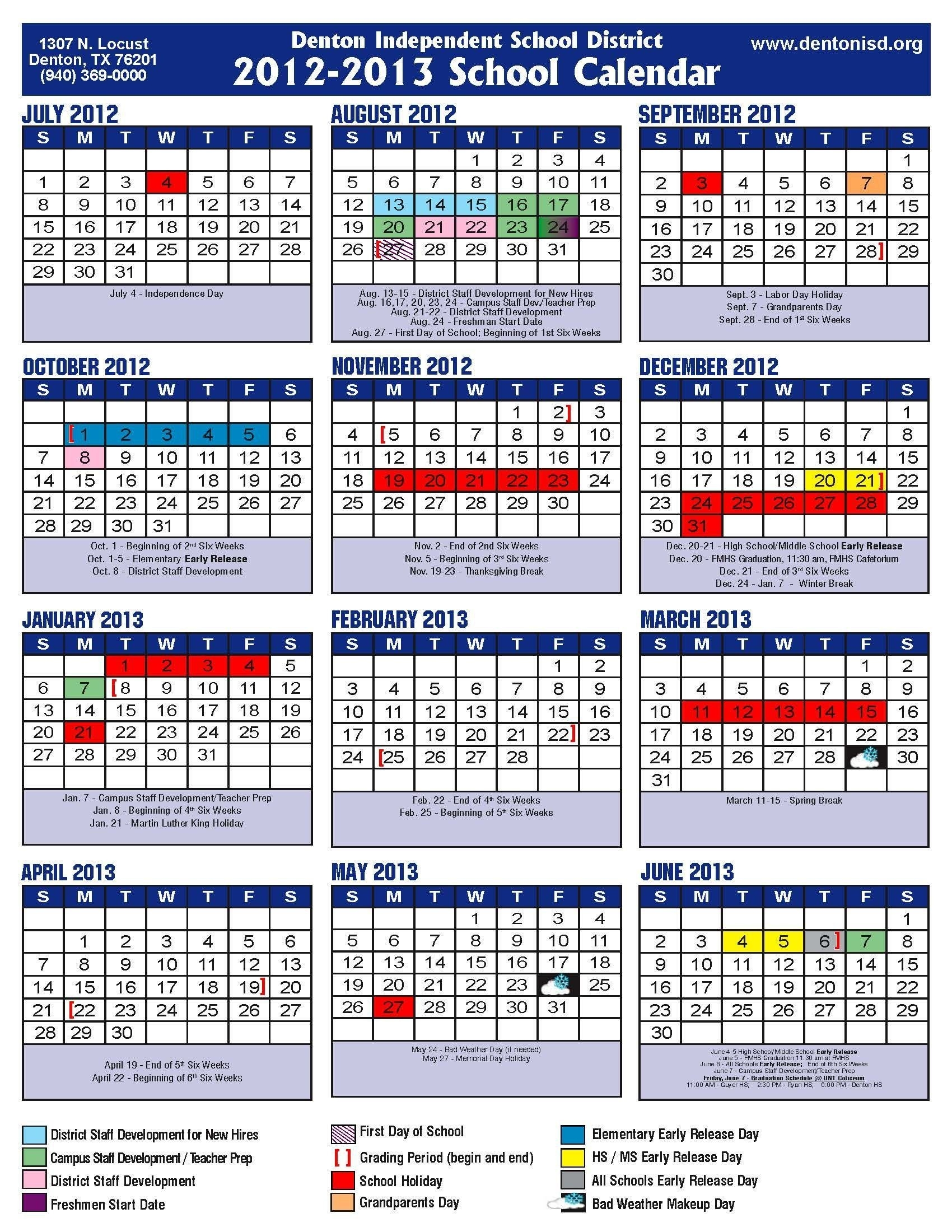 Academic Calendar Disd | 12 Month At A Glance Calendar Template_School Calendar Denton Isd