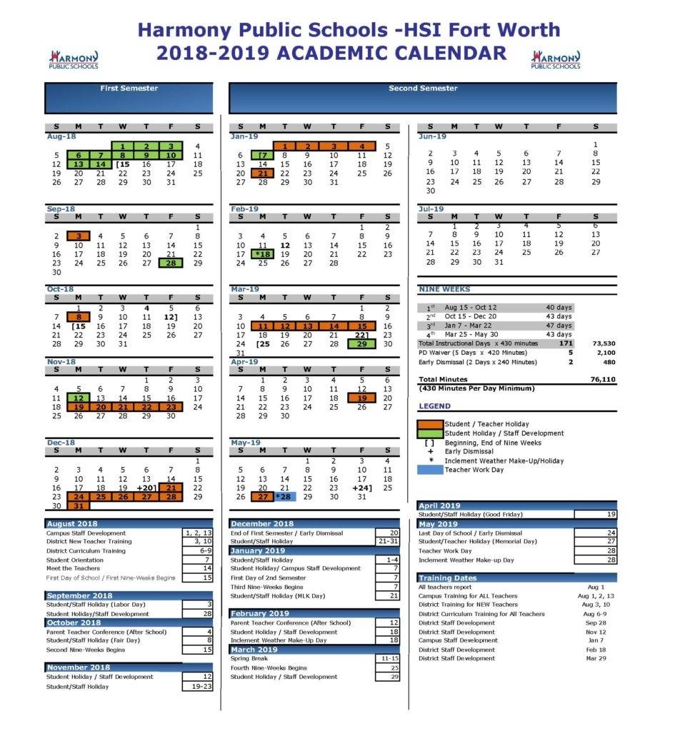 Academic Calendar – Harmony School Of Innovation – Fort Worth_Calendar School District 96